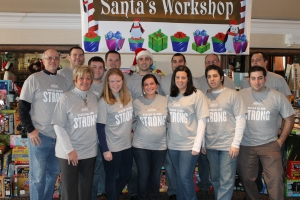 Staten Island Yankees Staff was proud to be part of brining holiday cheer to Staten Island families that were affected by Sandy. Left to Right (bottom): Jane Rogers, Jillian Wright, Melissa Loughran, Kerry Haley, John DeLuca, Mike KatzLeft to Right (Top): Mike Rogers, Tim Holder, Kevin Ertel, Zach Johnston, Steve McCann, Joe Mola, Bobby Brown, Matt Gulino