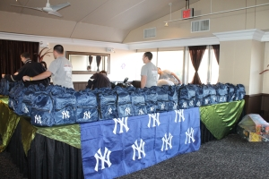 Thanks to our extended family at the New York Yankees, they provided storm victims with backpacks loaded with schools supplies and New York Yankees memorabilia.