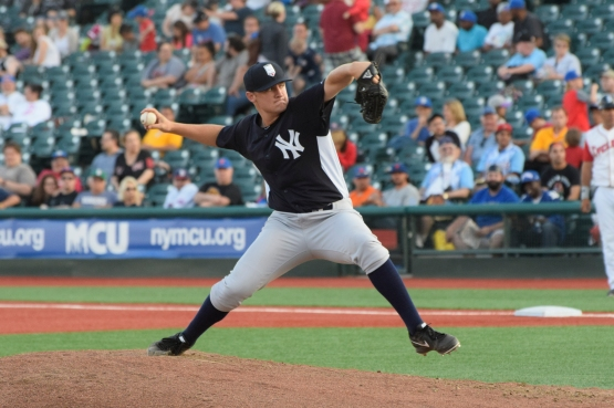 Jordan Foley makes an appearance at MCU Park against the Brooklyn Cyclones (photo by Robert Pimpsner)